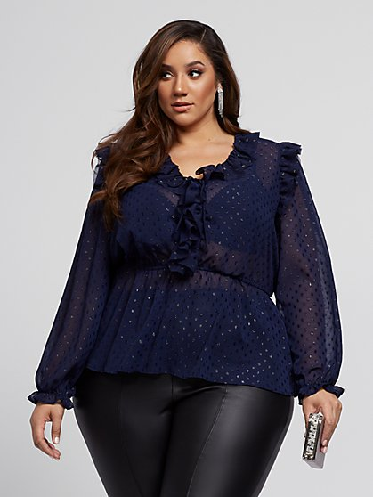 Plus Size Eliana Navy Ruffle Blouse - Fashion To Figure