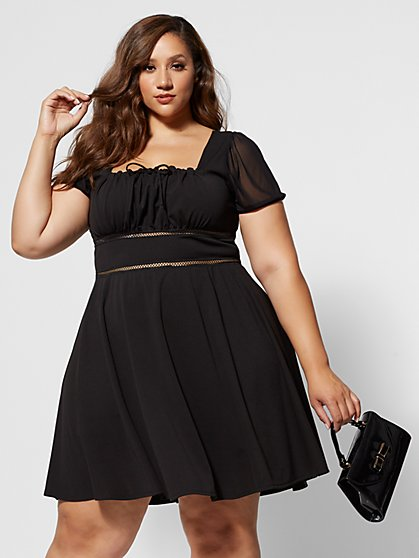 Plus Size Elie Square Neck Flare Dress - Fashion To Figure