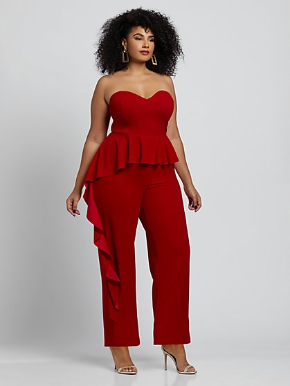 Plus Size Elisa Ruffle Detail Jumpsuit - Fashion To Figure