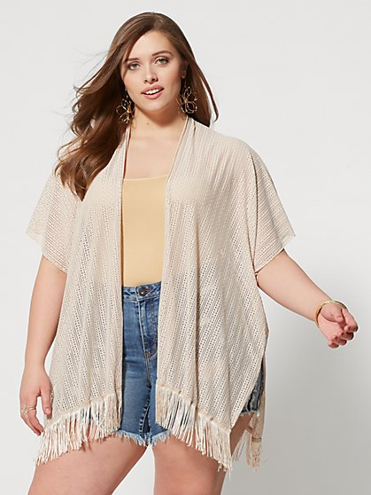 Plus Size Elise Fringe Kimono - Fashion To Figure