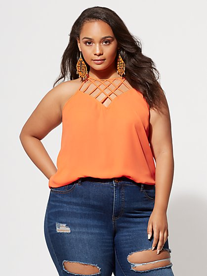 Plus Size Elise Lace-Up Tank - Fashion To Figure