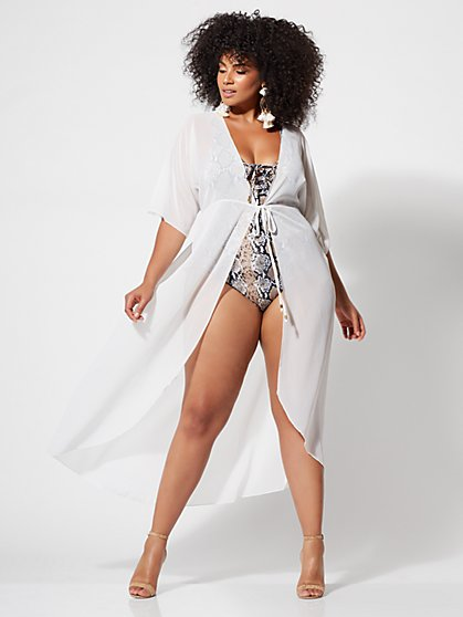 Plus Size Elise White Mesh Tie-Front Cover-Up - Fashion To Figure