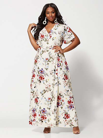 Plus Size Elisha Floral Wrap Maxi Dress - Fashion To Figure