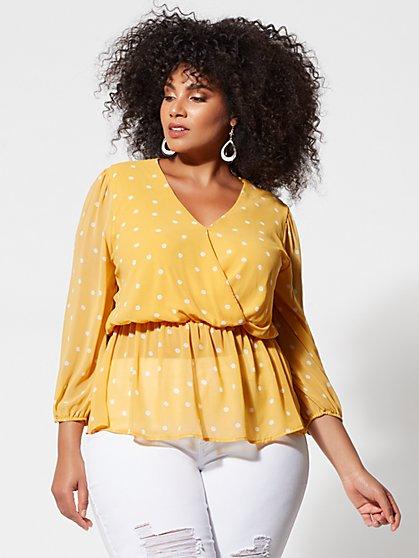 Plus Size Eliyana Polka-Dot Peplum Top - Fashion To Figure