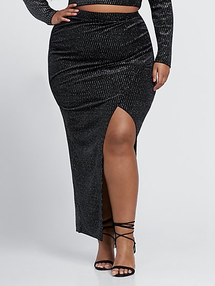 Plus Size Elizabeth Silver Asymmetric Midi Skirt - Fashion To Figure