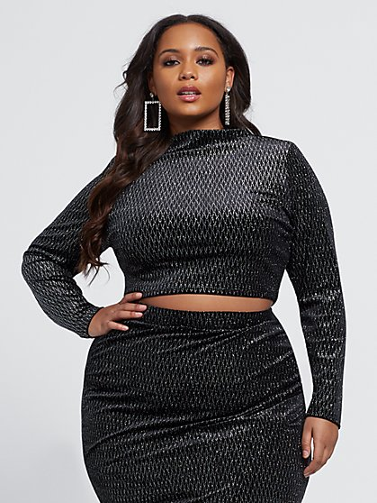 Plus Size Elizabeth Silver Mock Neck Top - Fashion To Figure