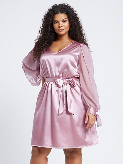 Plus Size Ella Tie-Front Flare Dress - Fashion To Figure