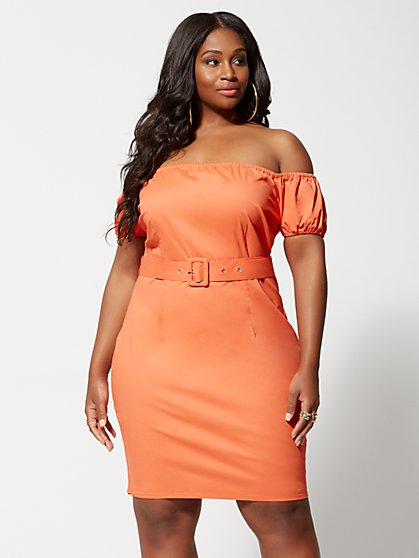 09e9b157814 Plus Size Elli Off Shoulder Belted Bodycon Dress - Fashion To Figure ...