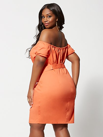 c325156e15d ... Plus Size Elli Off Shoulder Belted Bodycon Dress - Fashion To Figure ...