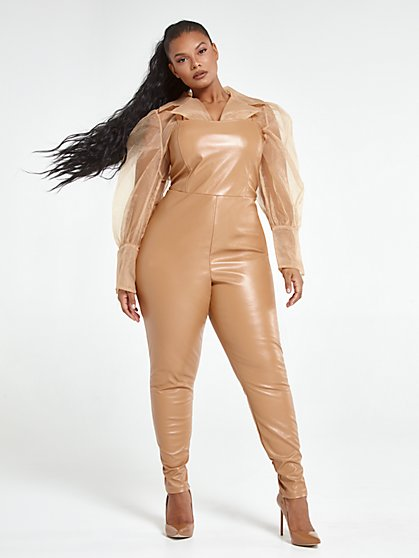 Plus Size Ellie Faux Leather Overalls - Fashion To Figure