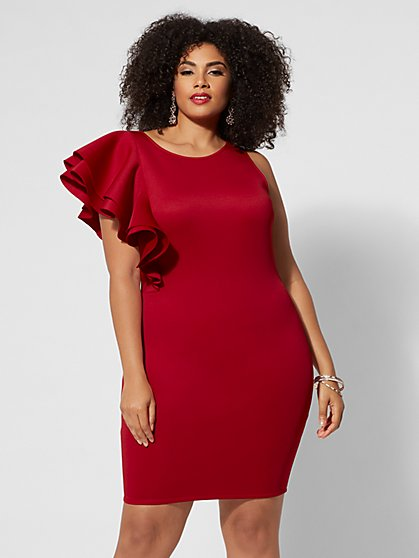 Plus Size Ellie One-Shoulder Ruffle Dress - Fashion To Figure