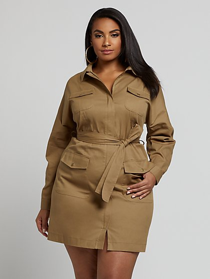 Plus Size Ellie Snap Front Utility Dress - Fashion To Figure