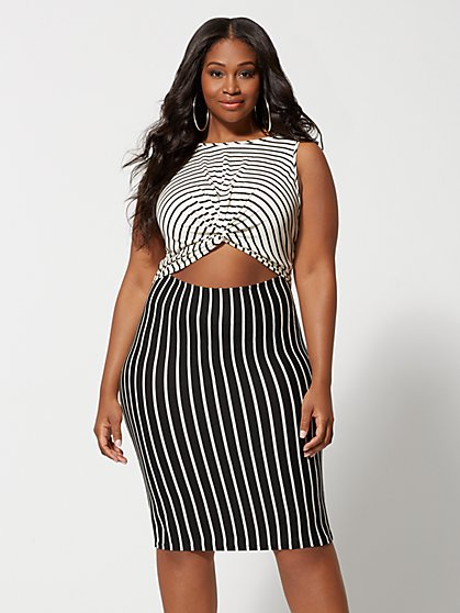 Plus Size Eloise Cut-Out Stripe Bodycon Dress - Fashion To Figure