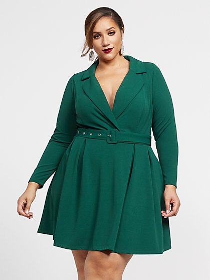 Plus Size Elsa Belted Blazer Dress - Fashion To Figure