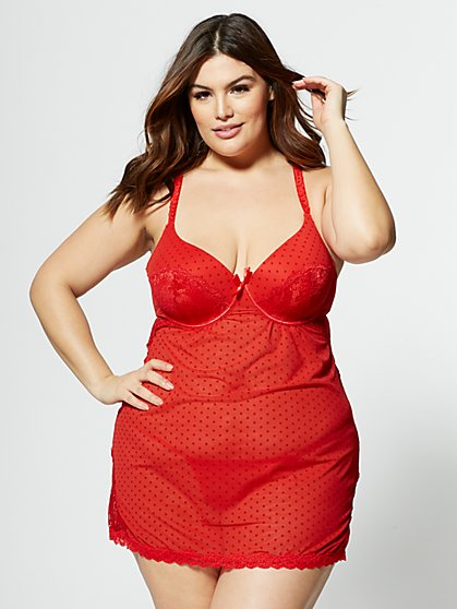 Plus Size Elsa Chemise Lingerie Set - Fashion To Figure