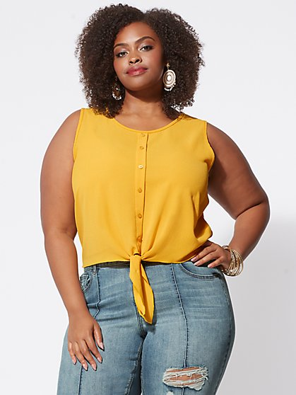 Plus Size Elyshia Tie-Front Tank - Fashion To Figure