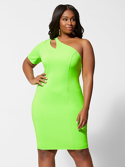 Plus Size Ember Neon Green Bodycon Dress - Fashion To Figure