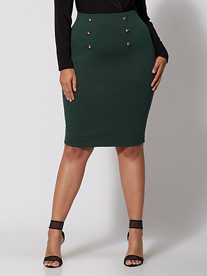Plus Size Emerald Pencil Skirt - Fashion To Figure