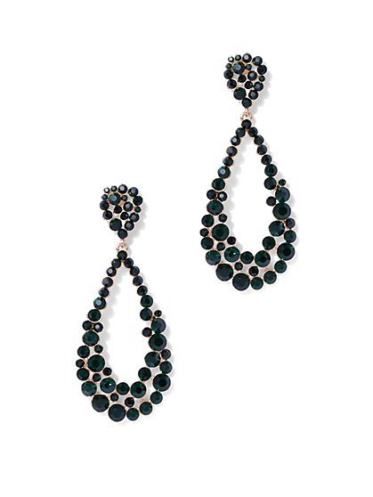 Plus Size Emerald Teardrop Earrings - Fashion To Figure