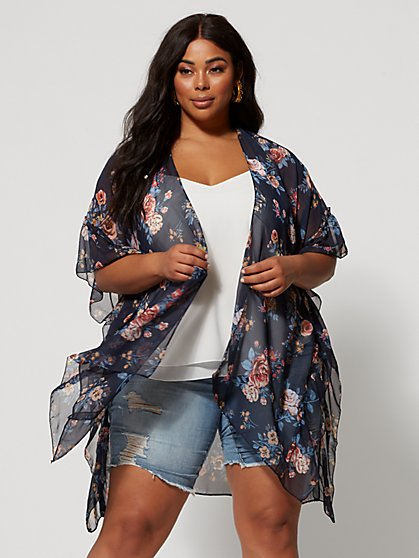 Plus Size Emery Ruffle Sleeve Kimono - Fashion To Figure