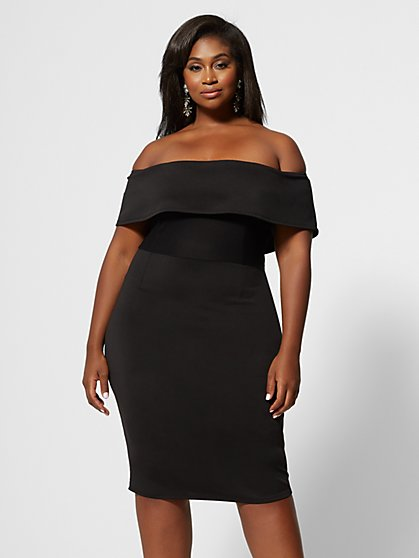 Plus Size Emilia Off Shoulder Mesh Bodycon Dress - Fashion To Figure