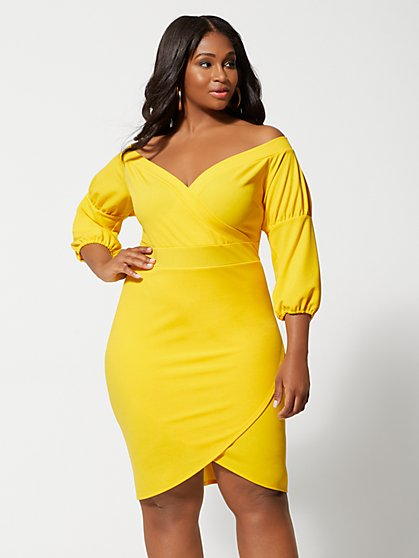 Plus Size Emily Tulip Hem Bodycon Dress - Fashion To Figure