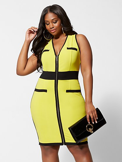 Plus Size Emina Zipper Front Bodycon Dress - Fashion To Figure