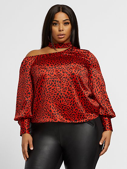Plus Size Emma One Shoulder Cheetah Print Top - Fashion To Figure