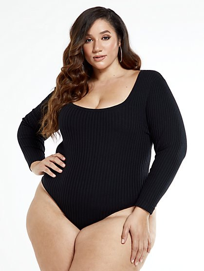 Plus Size Emma Rib Knit Bodysuit - Fashion To Figure