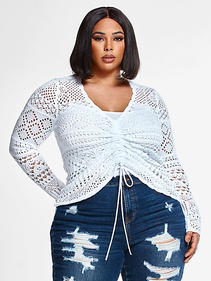Plus Size Ensley Pointelle Drawstring Sweater - Fashion To Figure