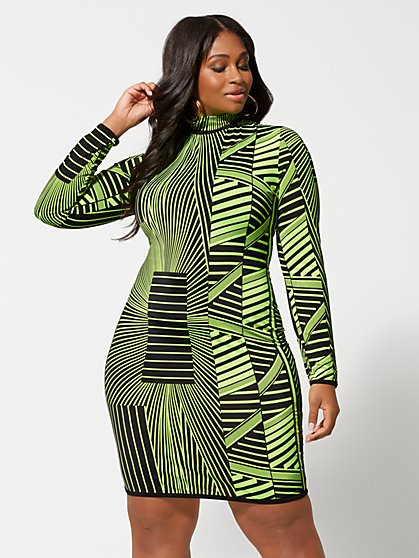 Plus Size Enya Geometric Neon Bodycon Dress - Fashion To Figure