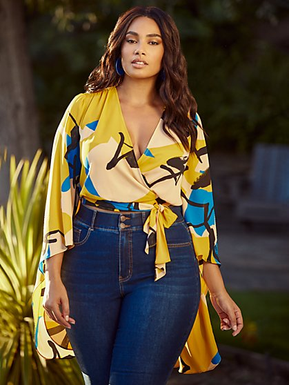 Plus Size Erica Drama Sleeve Wrap Top - Gabrielle Union x FTF - Fashion To Figure