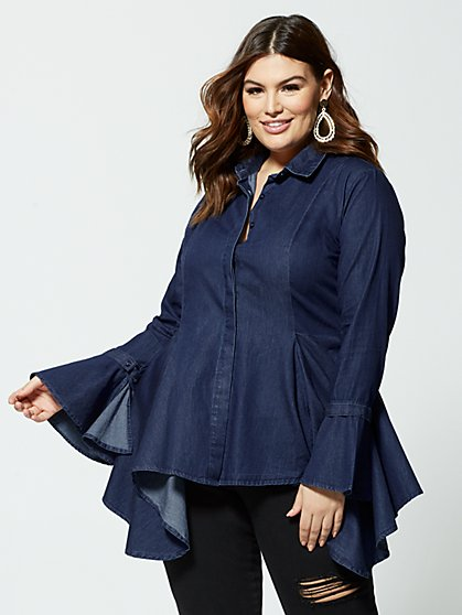 Plus Size Erika Denim Peplum Top - Fashion To Figure