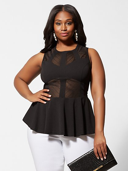 Plus Size Eryna Mesh Panel Peplum Top - Fashion To Figure
