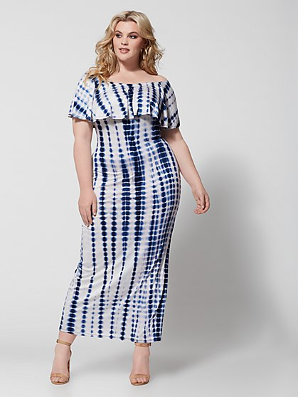 Plus Size Esme Off Shoulder Tie Dye Maxi Dress - Fashion To Figure