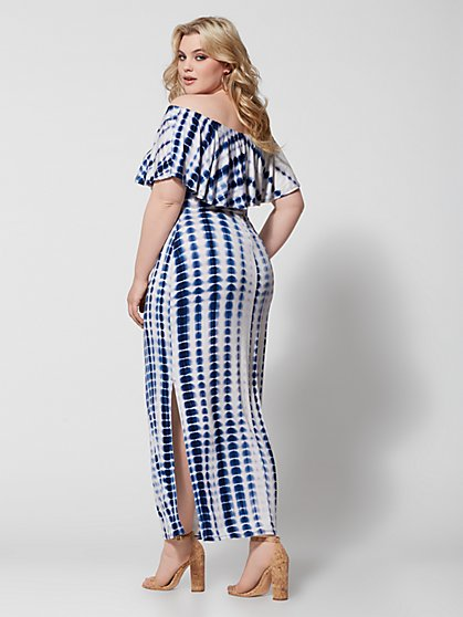 ebf315768d866 ... Plus Size Esme Off Shoulder Tie Dye Maxi Dress - Fashion To Figure ...