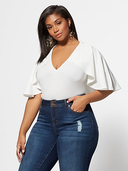 Plus Size Esmeralda Cape Bodysuit - Fashion To Figure