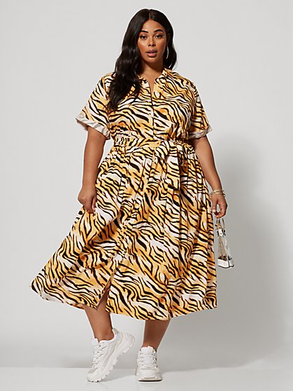 db5488fed4a Plus Size Esperanza Tiger Print Maxi Shirt Dress - Fashion To Figure