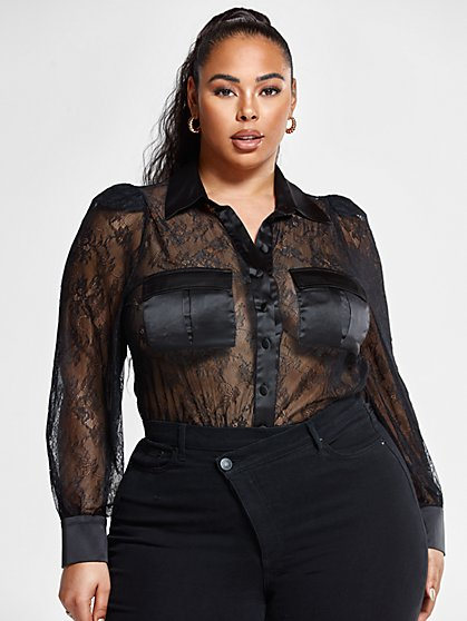 Plus Size Eva Lace Button Down Shirt - Fashion To Figure