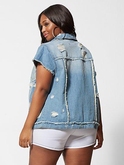 ecb17f9550d ... Plus Size Evadine Short Sleeve Denim Jacket - Fashion To Figure