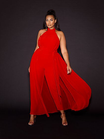 Plus Size Evangeline Red Halter Jumpsuit - Gabrielle Union x FTF - Fashion To Figure