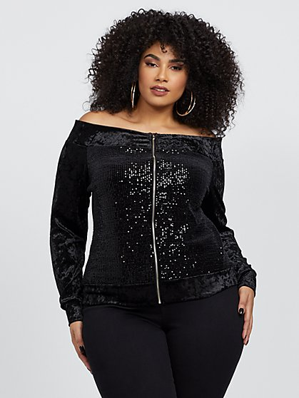 Plus Size Eve Off Shoulder Sequin Bomber Jacket - Fashion To Figure