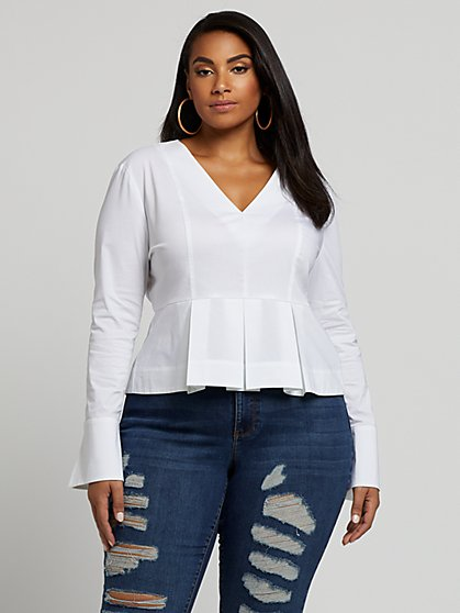 Plus Size Eve Pleated Peplum Top - Fashion To Figure