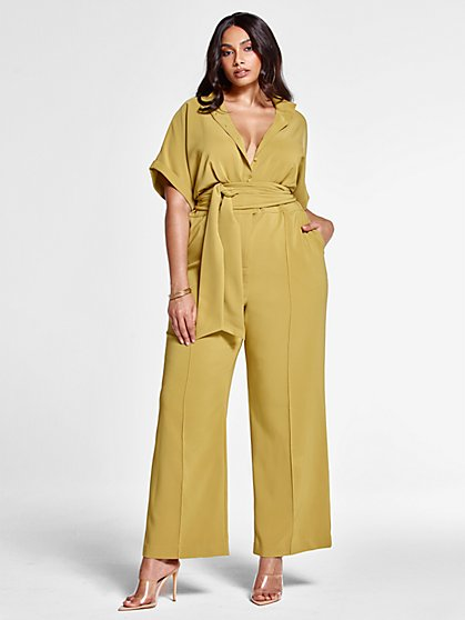 Plus Size Evelina Tie Waist Jumpsuit - FTF LAB: Frankie Tavares - Fashion To Figure