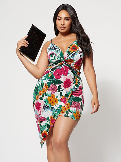 Plus Size Evelyn Floral Bodycon Dress - Fashion To Figure