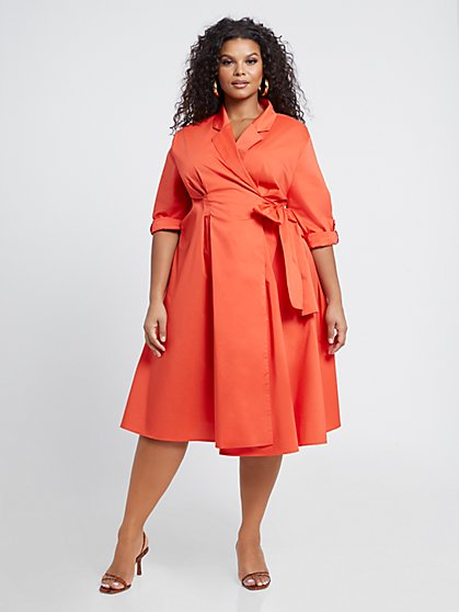 Plus Size Everleigh Poplin Wrap Dress - Fashion To Figure