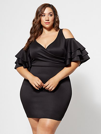 Plus Size Everly Drama Ruffle Bodycon Dress - Fashion To Figure