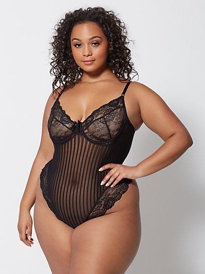 Plus Size Everly Lace and Mesh Lingerie Bodysuit - Fashion To Figure