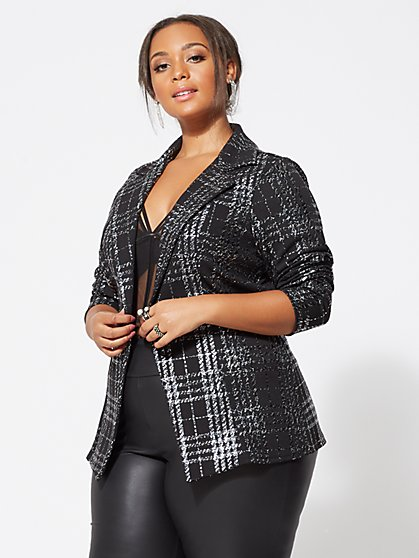 Plus Size Evie Foil Blazer - Fashion To Figure