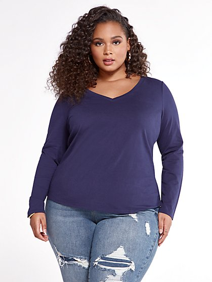 Plus Size Evie Long Sleeve V-Neck Tee - Fashion To Figure